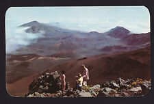 c1955 people view Haleakala Crater volcano Maui Hawaii postcard