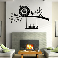 Cartoon Tree Bird Clock Removable Wall Sticker Decal Kids Room Nursery Decor