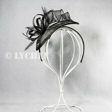 Black Sinamay Feather Loop Carnival Wedding Racing Fascinator Hatinator Headband