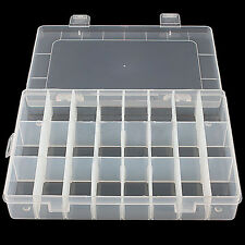 Adjustable 24 Compartment Box Jewelry Earring Container Plastic Storage Ornate