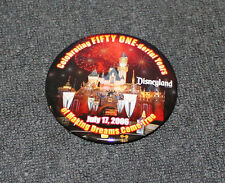 DISNEYLAND CELEBRATING FIFTY ONE-DERFUL YEARS JULY 2006 PIN BACK BUTTON 2 1/2""