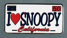 I Love (Heart) SNOOPY CALIFORNIA LICENSE PLATE PIN