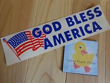 "GOD BLESS AMERICA Bumper Sticker USA Flag 3"" x 12"" Red White Blue Lot of 2"