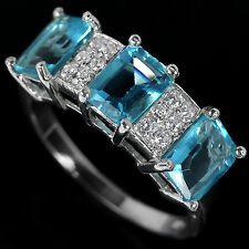 Sterling Silver 925 Emerald Cut Genuine London Blue Topaz Ring Size N.5 US 7
