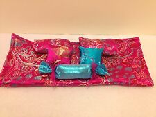 FUSHIA&BLUE BROCADE DOUBLE BEDDING SET FOR BARBIE, MONSTER HIGH, OR BRATZ DOLLS