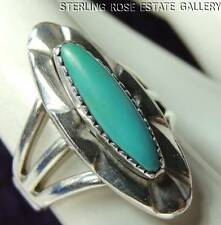 VINTAGE Elongated TURQUOISE Hand Crafted STERLING SILVER 0.925 Estate RING sz 5