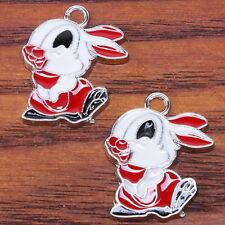 20x 140323 Wholesale Lovely Enamel Rabbit Charms Alloy Pendants Fit Necklaces
