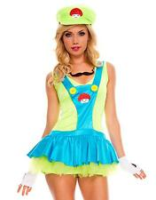 Sexy Woman's Adult Luigi Mario Bros Cosplay Costume Mini Dress Halloween Party