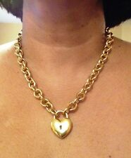 """Milor Bronze Italy 20"""" Polished Rolo Necklace Puffed Heart / Lock  NWT Stunning"""