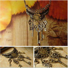 Fashion Women Celebrity Retro Bronze Key Pendant Long Charm Necklace Chain Gift
