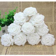 10Pcs White Artificial Sponge Rose Flowers For Wedding Bouquet Home Decoration