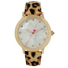 BETSEY JOHNSON GOLD TONE ,LEOPARD PRINT LEATHER BAND,MOP DIAL WATCH-BJ00531-03