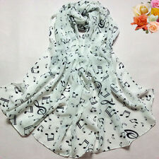 Women Lady Chiffon Musical Note Neck Scarf Shawl Muffler Scarve Gift New arrival