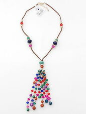 Style & Co - Multi Colored Glass & Beads Tassel Pendant on String Cute Necklace