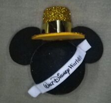 DISNEY WDW HAPPY NEW YEAR MICKEY IN GOLD HAT W/BANNER ANTENNA BALL TOPPER - NEW