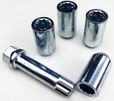 4 x wheel Tuner Slim nuts + 17mm Hex Star Key. M12 x 1.5, Taper for Kia