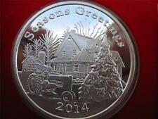 1-OZ.CHRISTMAS FARM WITH JOHN DEERE TRACTOR  ENGRAVABLE .999  SILVER COIN +GOLD
