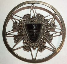 "Antique 30s Art Deco Sterling Silver w/ Black Onyx .925 2.25"" Mexico Brooch Pin"