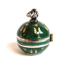 Vintage TISSOT Odyla STERLING Silver Green Guilloche ENAMEL Ball Pendant Watch