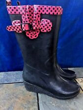 CAPELLI Rain Galoshes DIVA Black Pink Polka Dot High Heel BOOT Womens Shoes Sz 7