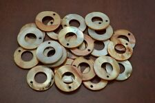 25 PCS DYED BROWN CIRCLE BLANK SHELL BEADS CHARMS #T-1181