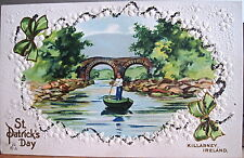 Irish Postcard KILLARNEY Old Weir ST PATRICK'S DAY Embossed Shamrock Glitter