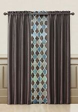Chocolate Window Treatment Set : 2 Faux Silk Panels + 1 Printed Voile/sheer