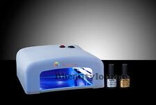 AW 36W White UV Gel Nail Lamp Dryer  Bluesky 10ml Top & Base Coat starter kit