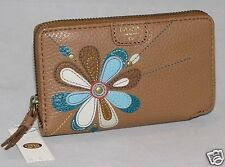 Fossil Mimi Multifunction iPhone SE Wallet Brown flower applique SWL1076914 NWT