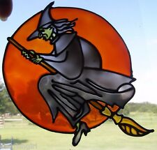 "Flying WITCH Halloween Stained Glass Window Cling 8""T"