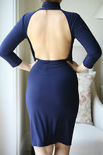 NORMA KAMALI AT EVERLAST NAVY BACKLESS DRESS MEDIUM