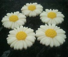 10 x Ivory White & Yellow Daisy Daisies Flower Cabochon 27mm Resin