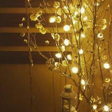 Wire String Lights Beige Flower LED Bulbs Battery Opetated Party Decor 200cm