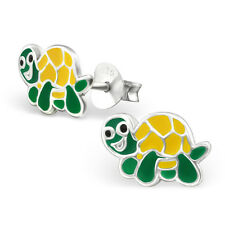 Childrens Kids Girls 925 Sterling Silver Turtle Ear Stud -Gift Boxed