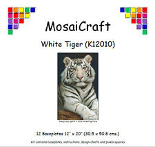 MosaiCraft Pixel Craft Mosaic Art Kit 'White Tiger' (Incl. Dove Tail Clips)