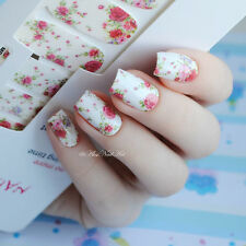 14pcs/ Sheet Flowers Nail Wraps Red Rose Nail Art Full Stickers MDS1013