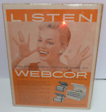 VINTAGE 1950'S WEBCOR RECORD PLAYER PEGGY KING PRINT ADVERTISING