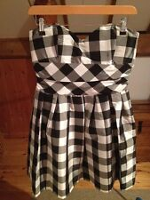 Black & White Check Oasis Party Dress/Bandeau/Short/Size 10/Evening/Occassion