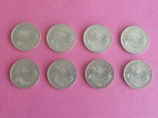 50 Cents 1967 1972 1974 1977 1979 1980 1981 1982 Singapore Lion Fish Coin  8 Pcs
