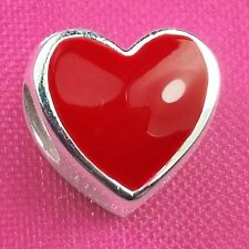 Genuine 925 Sterling Silver Red Enamel Heart Charm Bead European Bracelet Fit