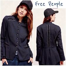 NEW FREE PEOPLE $168 NAVY VICTORIAN LACE UP MILITARY JACKET SZ XS EXTRA SMALL