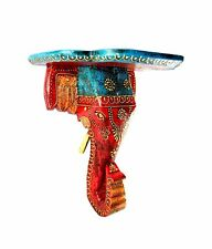 Indian wooden elephant wall bracket handmade colorful panel asian