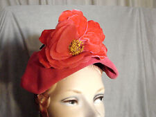 Vintage 40s 50s HOT Pink Hat Clip-on Velour BIG FLOWER GC Ackerly