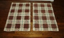 PAIR OF VINTAGE PLAID BATH MATS / SMALL WOVEN RUGS - EXCELLENT CONDITION!