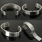 18-22mm Stainless Steel Watch Band Strap Bracelet & Push Button Double Flip Lock