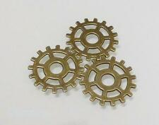 10 x Antique Bronze Cog Wheel Charms - Watch Parts Steampunk - LF NF 25mm