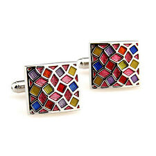 Unique Colorful Lattice Square Cufflinks Men's Wedding Suit Shirt Cuff Links