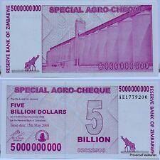 Zimbabwe Billet 5 MILLIARD de  DOLLARS 2008 Pick 61 NEUF UNC Zimbawe