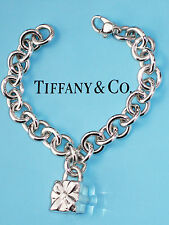 Tiffany & Co Sterling Silver Bow Box Present Padlock 7.5 Inch Charm Bracelet