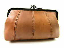 Ladies Womens High Quality Real Super Soft Leather Purse Clip top Twin Pocket